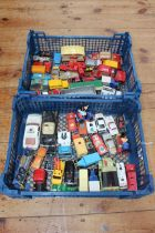 Two trays of Diecast model cars including Disney, Matchbox.