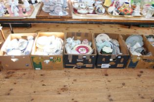 Five boxes of tea and dinnerware, china including Beswick horses and teapot, Wedgwood, etc.