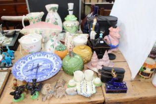 Collection of Maling lustre, Wade pig, Sylvac food pots, binoculars, etc.