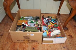 Two boxes of Diecast toys including aircraft, cars, etc.