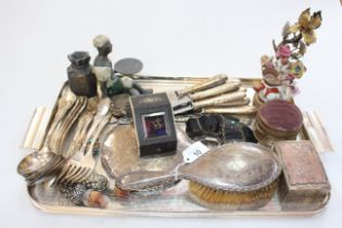 Tray lot with porcelain figure candle holder, silver brush and mirror, flatware, boxes, etc.
