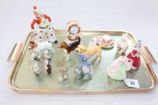 Beswick cat band, three Beswick dogs, two small Doulton figures, miniature Coalport, Masons,