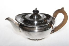 Silver teapot with reed and ribbon borders, Mappin & Webb, Sheffield 1919.