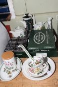 Collection of Portmeirion china including teapot, jug, low bowl and set of six small tumblers.