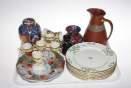 Set of six Minton side plates, Crown Ducal coffee cans and saucers, Oriental ginger jar and plate,