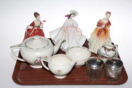 Three Royal Doulton ladies, Susie Cooper Parrot Tulip three piece tea set,