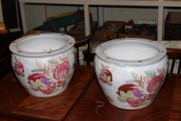 Pair of Oriental pottery fish bowls.
