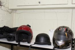 Hunter Class motorcycle jacket, size 44, vintage style helmet and two others.