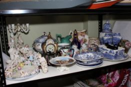 Cherub four branch candelabra and matching base, collection of Victorian and later china, vases,