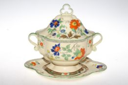 Masons soup tureen and stand, 30cm high.