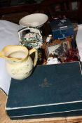 Boxed set of Royal Worcester coffee cans and saucers, Masons Chartreuse teapot,