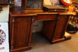 Victorian mahogany inverted breakfront pedestal sideboard, 94cm by 175cm by 63cm.