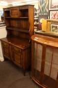 1920's/30's oak shelf back dresser and walnut bow front two door china cabinet.
