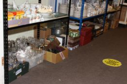 Eleven boxes of glass and china, carboy, demi-johns, camera equipment, collection of shells,