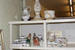 Floral encrusted jardiniere and stand, toilet jug, Royal Worcester Evesham tureens,