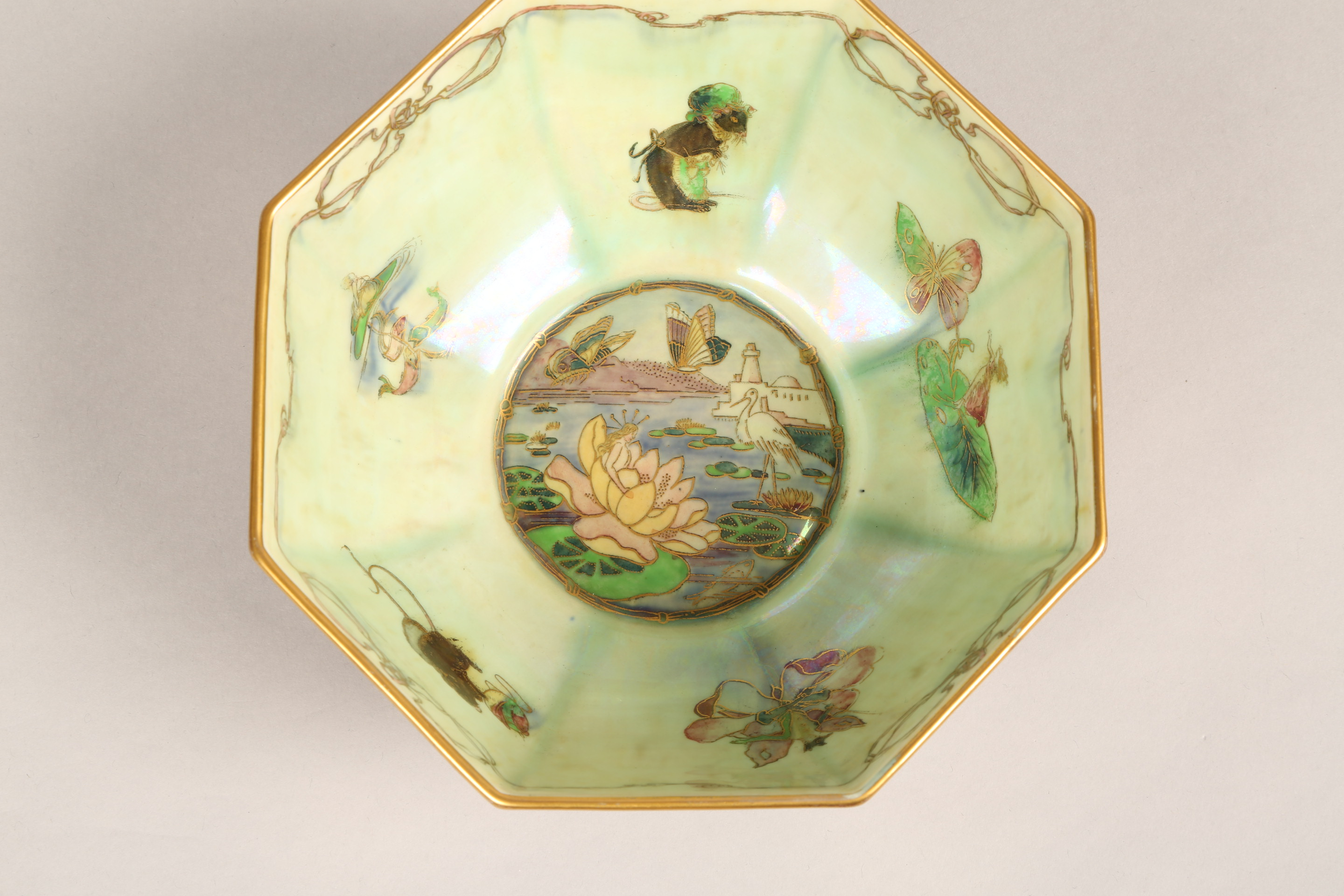 Wedgwood fairyland lustre bowl, by Daisy Makeig-Jones, octagonal form, decorated in the Firbolgs - Image 8 of 15