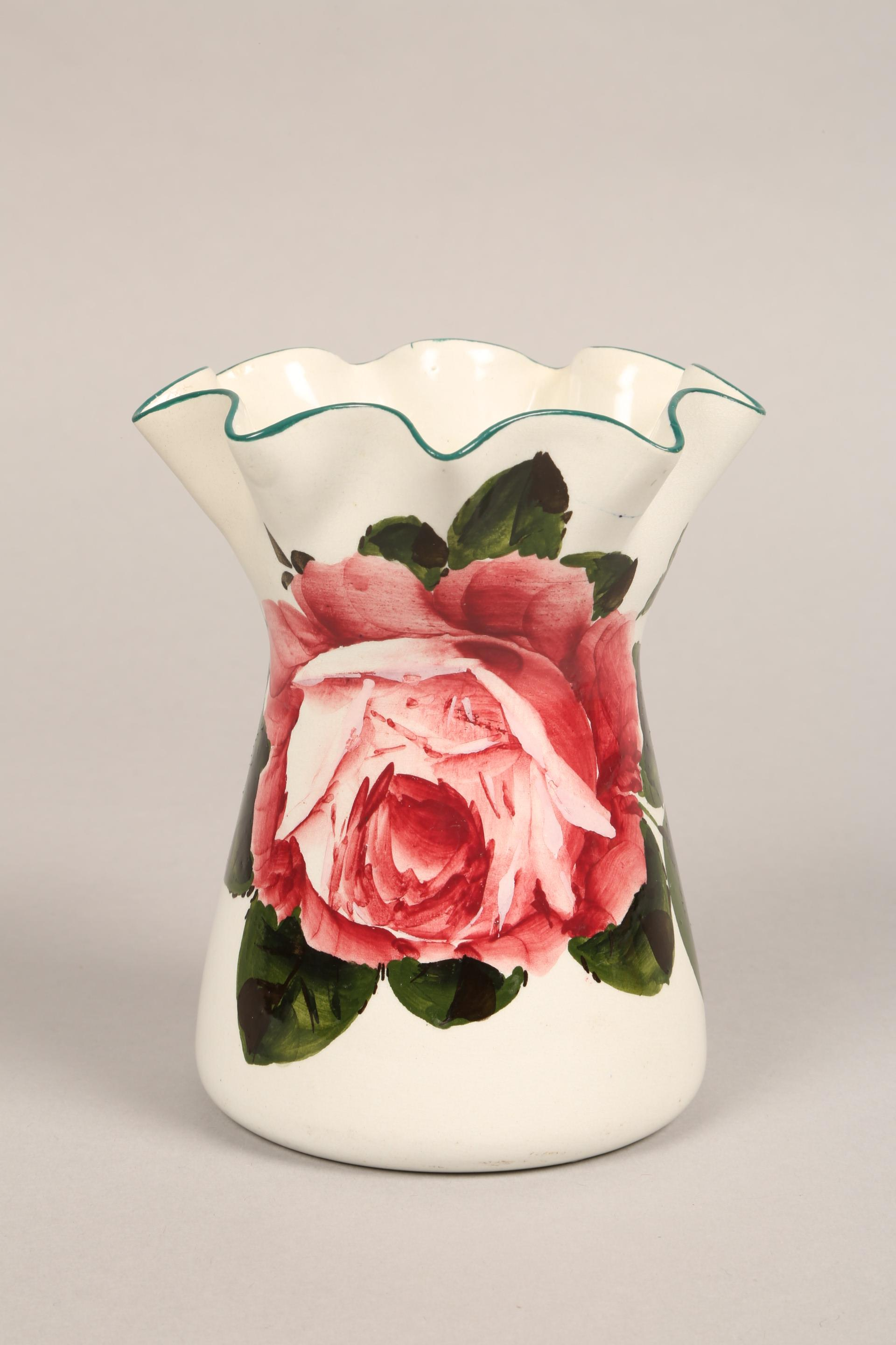 Wemyss pottery vase, lobed rim, hand painted with cabbage roses, incised Wemyss and retailers - Image 5 of 10