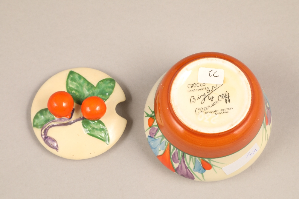 A Clarice Cliff Bizarre crocus pattern preserve pot and cover, with printed mark, 7.5cm high. - Image 5 of 5