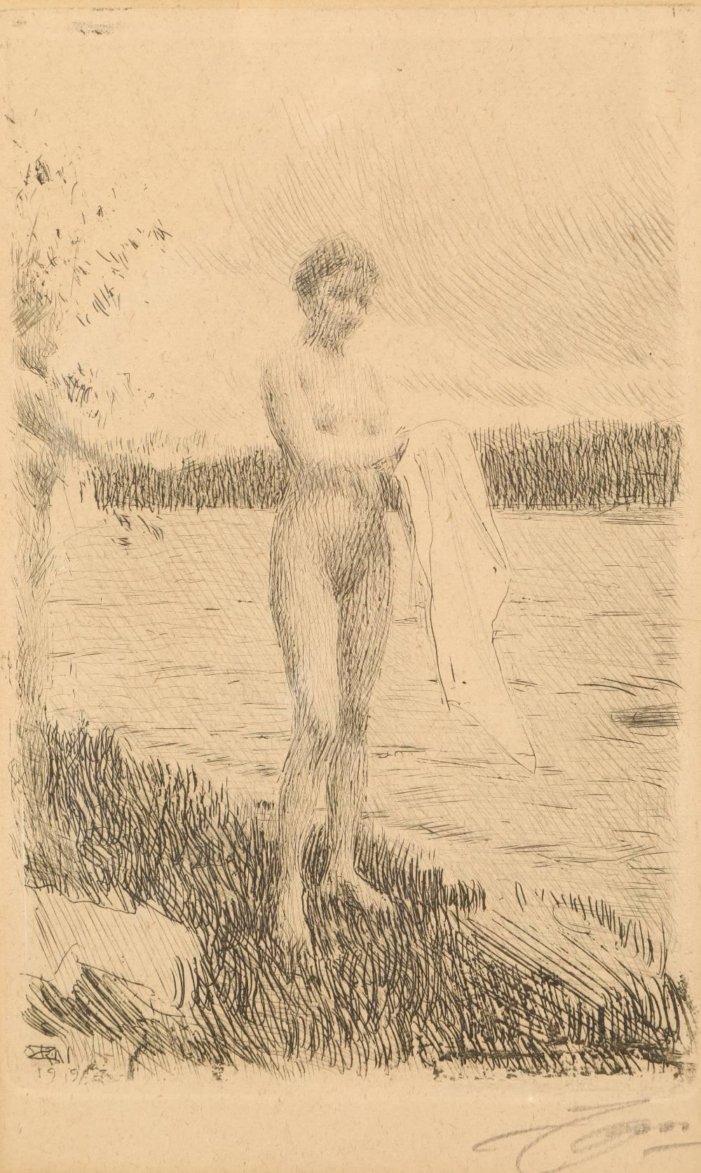 Anders Zorn (Swedish 1860-1920) Framed etching, signed under margin, dated 1919 'Dal River' 19cm x