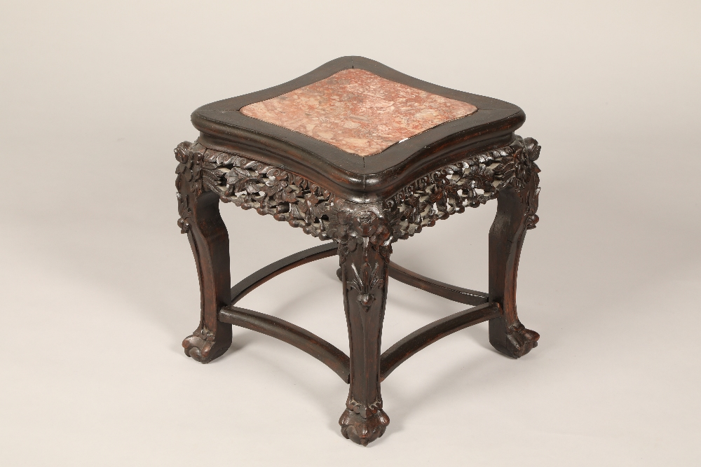 Chinese hardwood jardinière stand square top, rouge marble insert, pierced and carved foliage