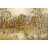 John Copland ( British 1854-1929 ) Framed oil on canvas, signed dated 1910 'A Misty Morning' 48cm