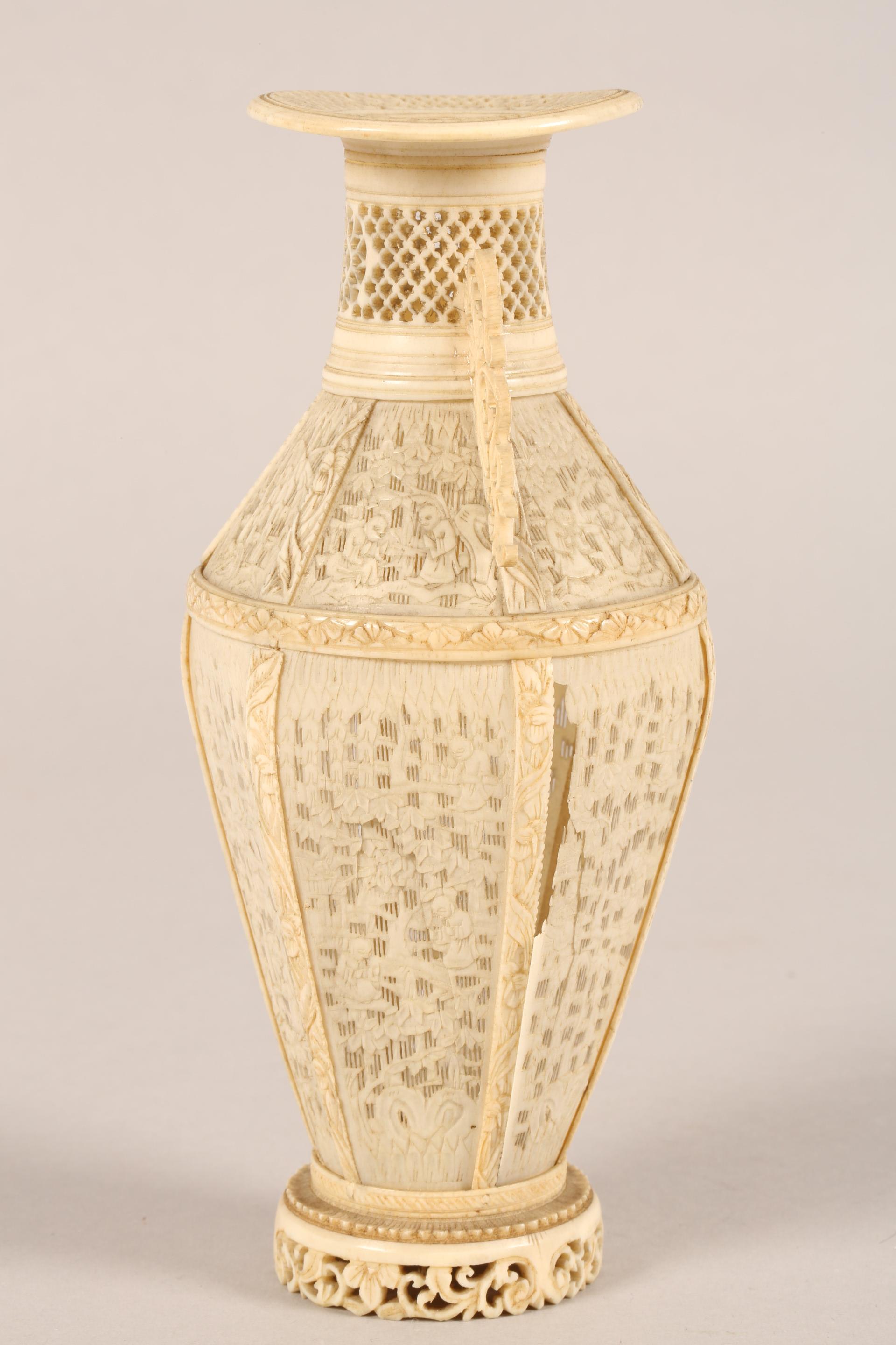 19th century Chinese Canton reticulated ivory twin handled vase (minor damages) 17.5cm high. - Image 6 of 7