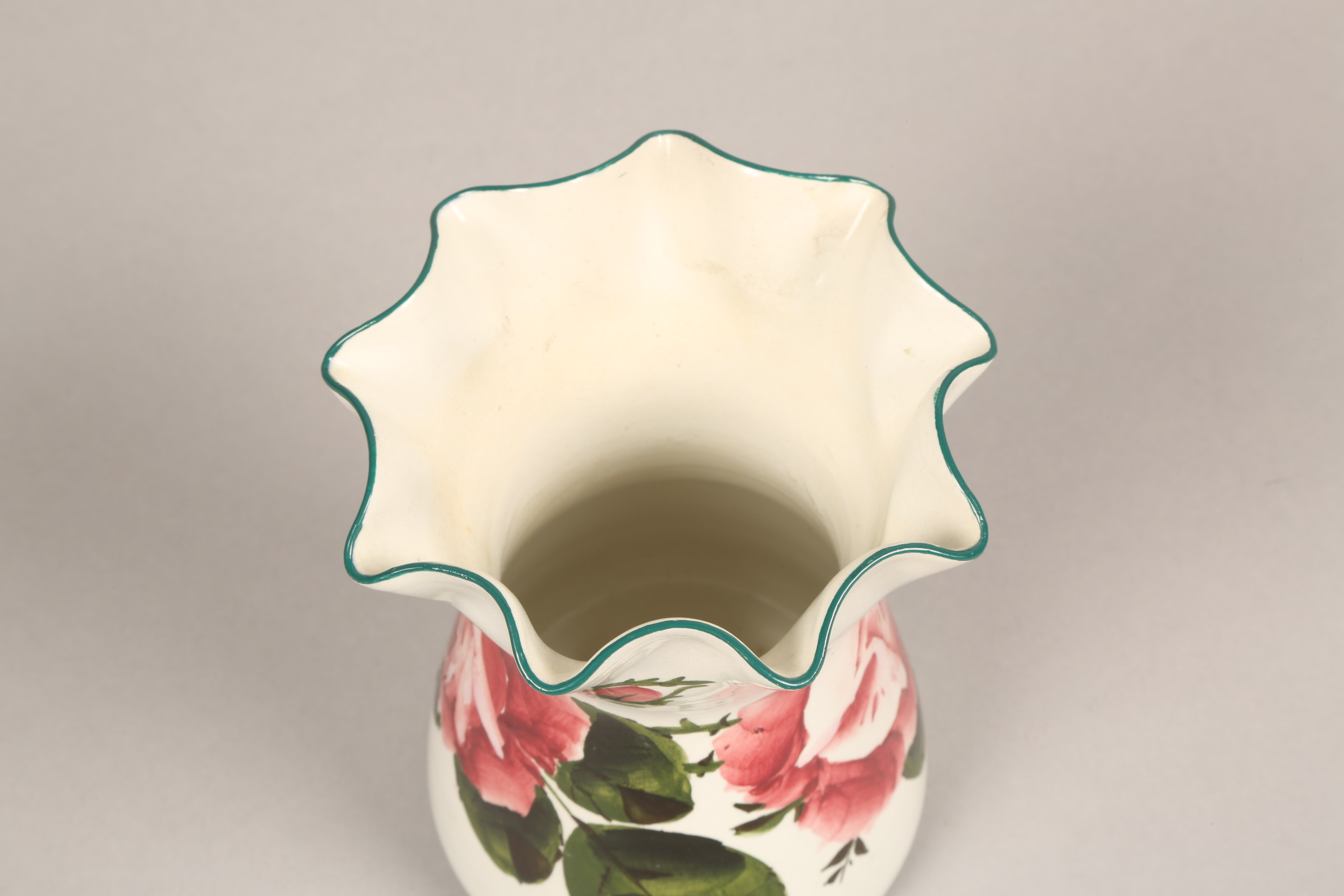 Wemyss pottery vase, lobed rim, hand painted with cabbage roses, incised Wemyss and retailers - Image 4 of 10