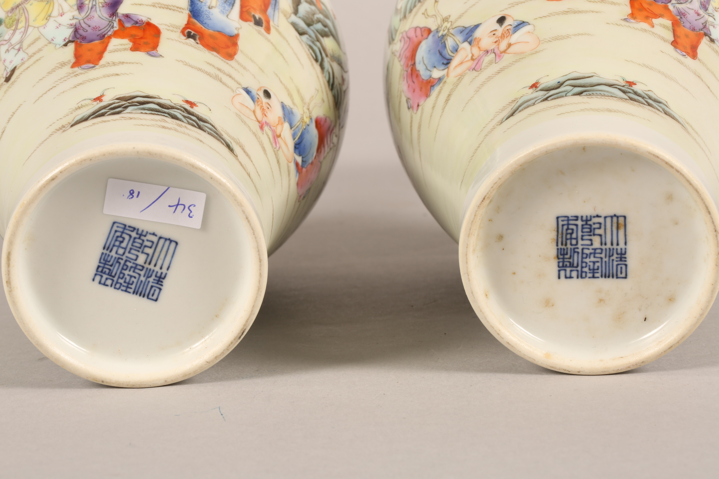 Pair 19th/20th century Chinese vases, of baluster form decorated with children playing with a sword, - Image 6 of 7