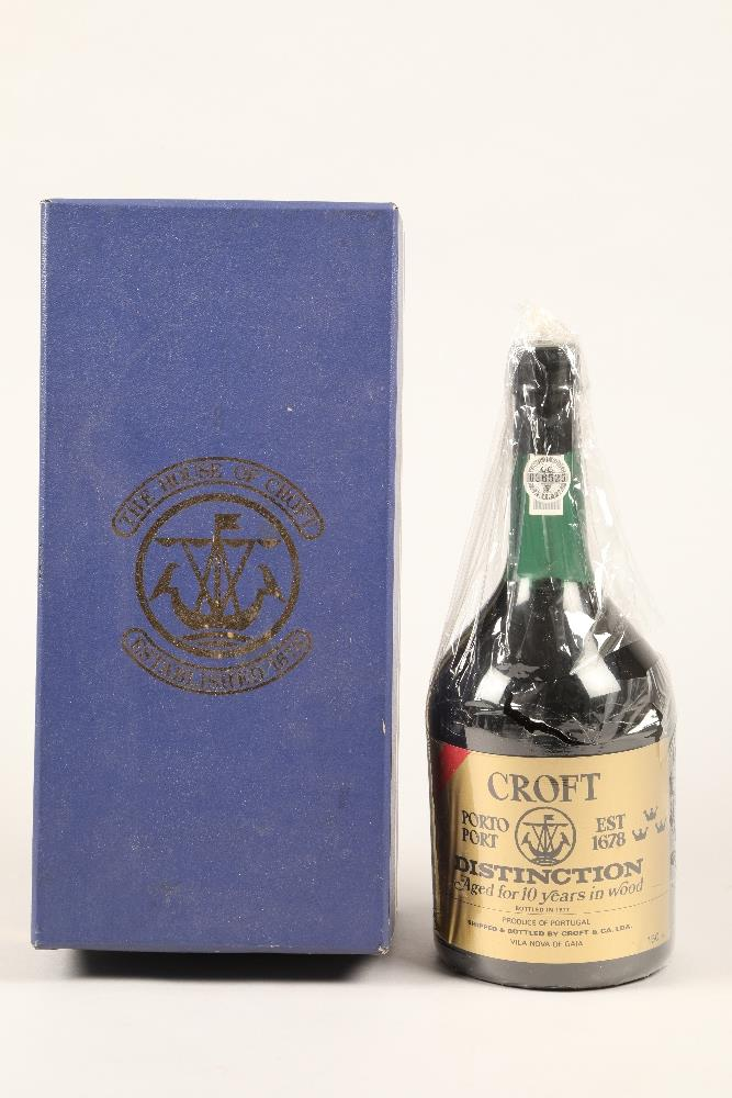 Boxed Croft Distinction 10 year old port, bottled in 1977, 150cl bottle.