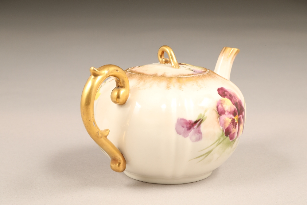 Nautilus porcelain teapot, gilt scroll teapot, hand painted in pansies. - Image 3 of 4