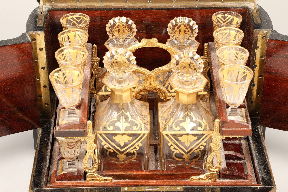 19th century French boulle work liqueur cellar, hardwood case with exterior boulle work - Image 2 of 7