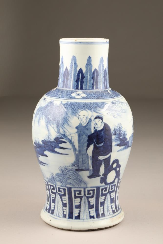 19th century Chinese blue and white vase of baluster form, decorated with figures in a landscape (