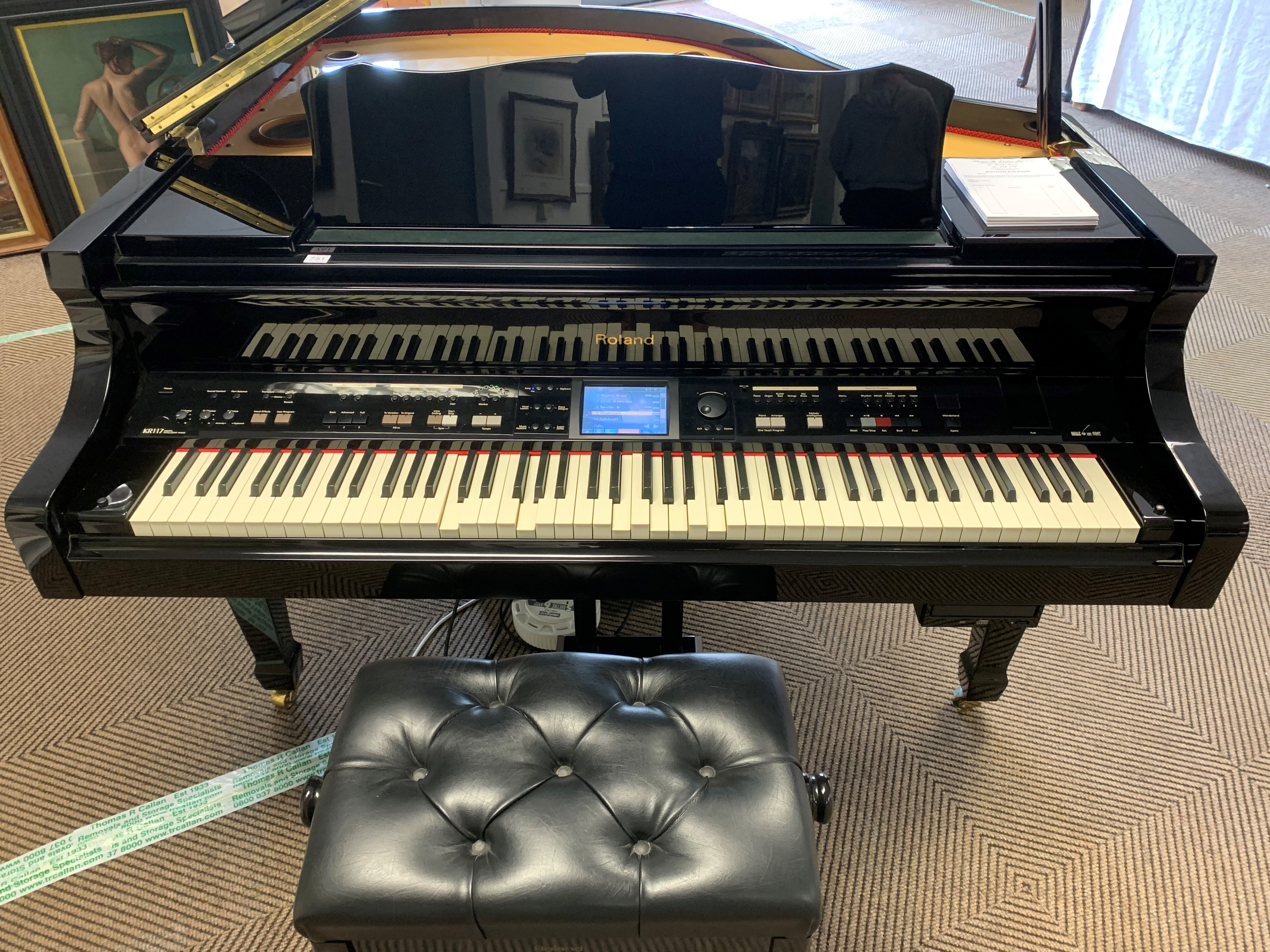Roland KR117 digital intelligent grand piano, finished in black lacquer. The KR117 intelligent grand - Image 3 of 5