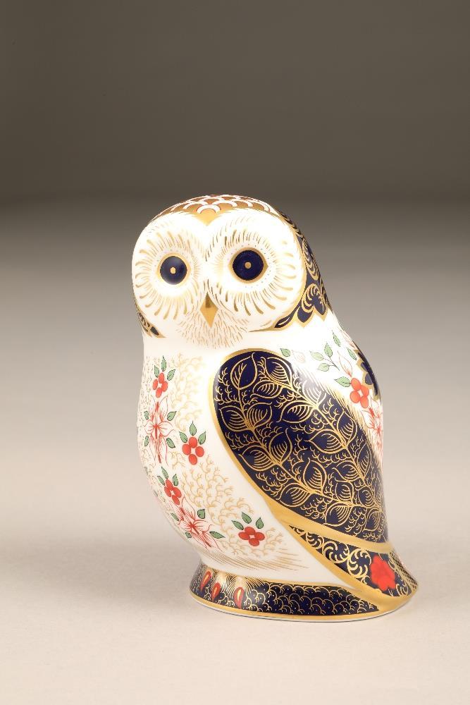 Royal Crown Derby bone china figure ornament, Old Imari Owl, 13cm.