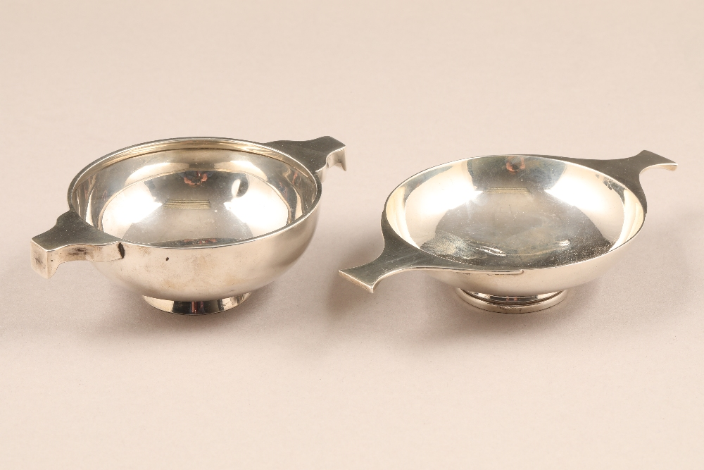 Small silver quaich by William Robb, Ballater, assay marked Edinburgh 1905, weight 73g. And another,