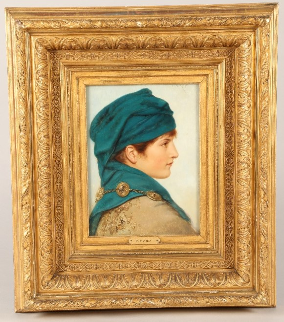 William Menzler (German 1846-1926) Gilt framed oil on board, signed 'Portrait of a Young Woman' 31cm - Image 2 of 2
