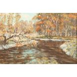 A J Hastings Framed oil on board, signed 'Autumn on a Galloway Stream'