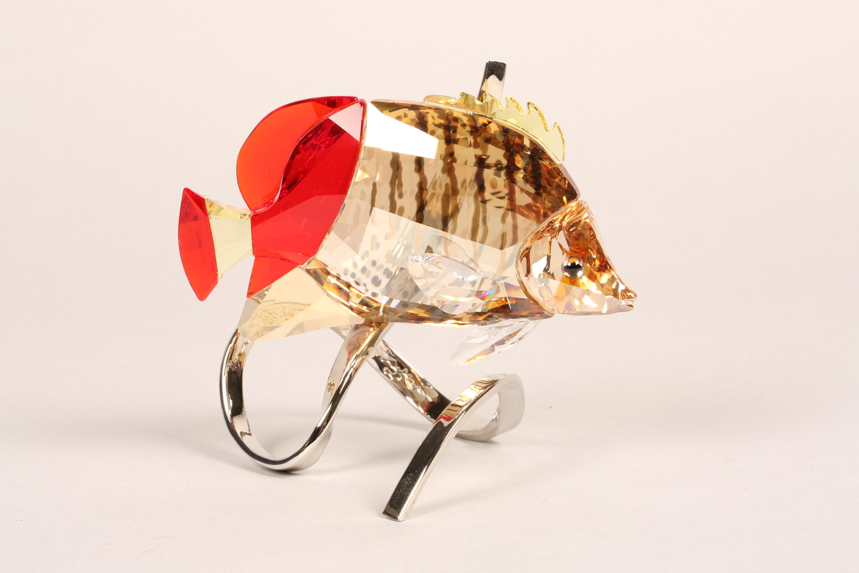 Swarovski crystal paradise butterfly fish, crystal body raised on a stylised chrome metal base, - Image 2 of 6
