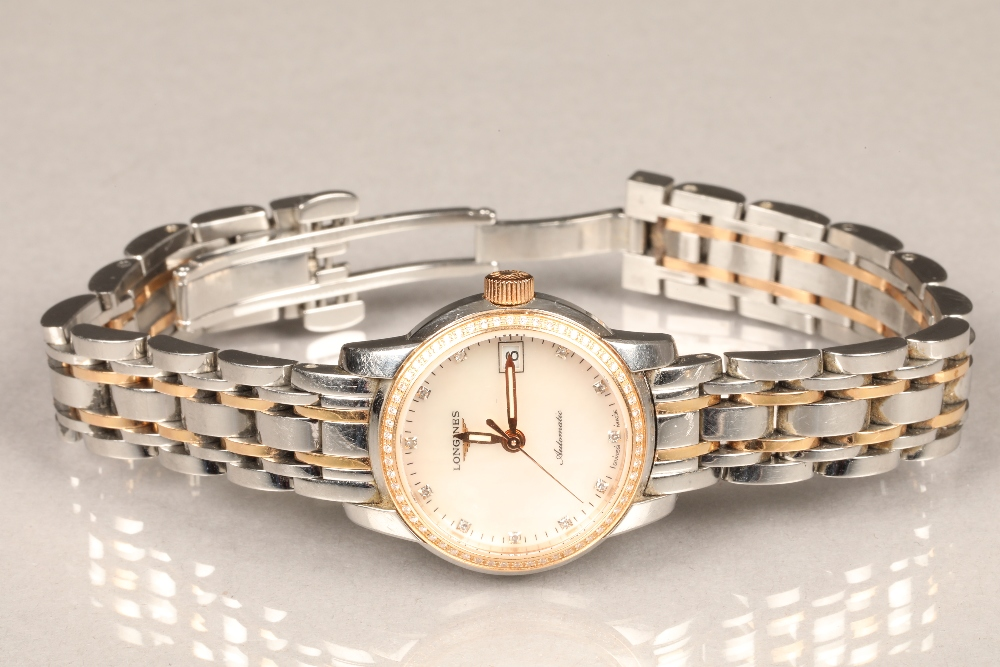 Ladies Longines Saint-Imier Collection automatic stainless steel bracelet watch, mother of pearl