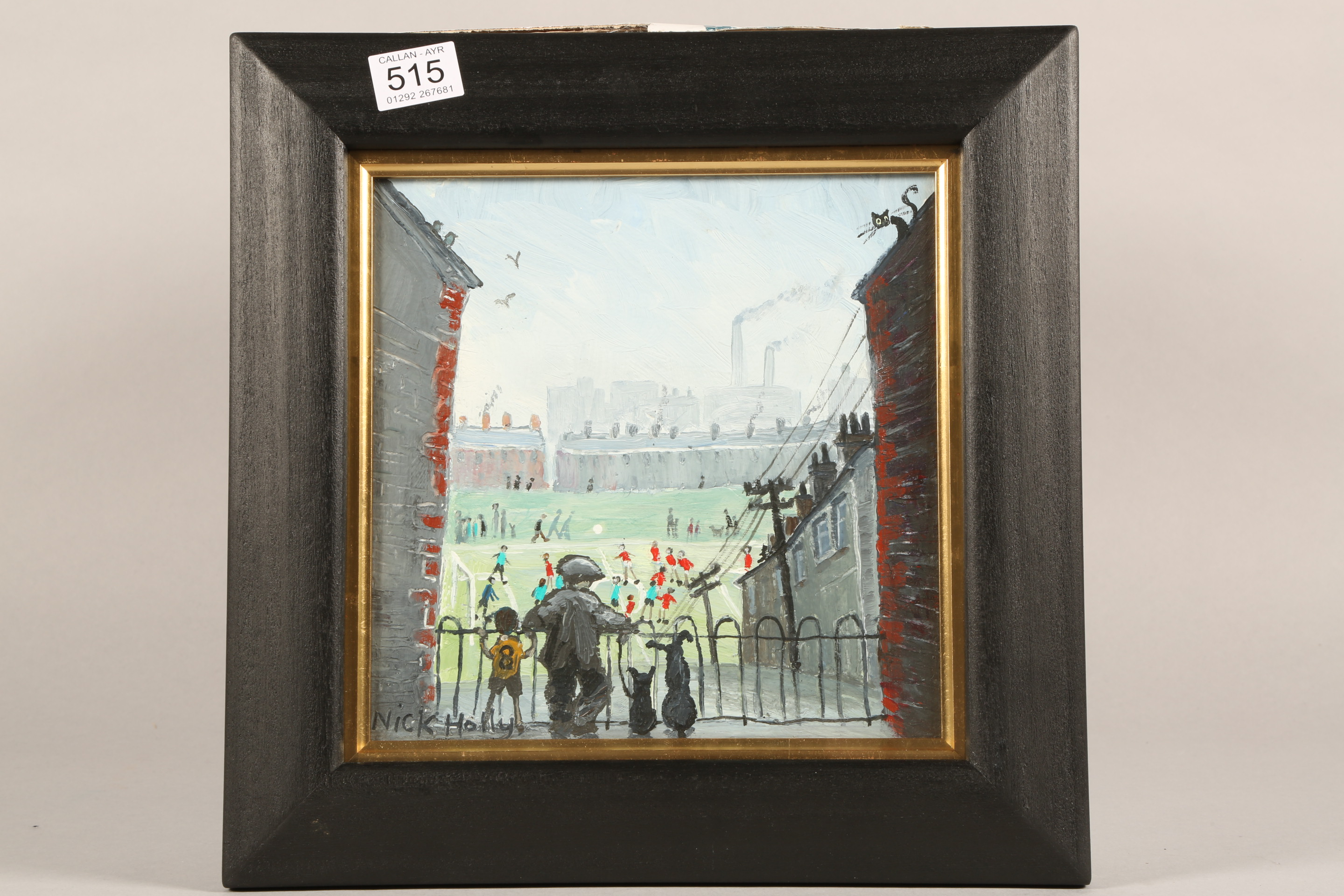 Nick Holly (Welsh Contemporary) ARR Framed oil on board, signed 'The Football Match' 20cm x 20cm - Image 2 of 3