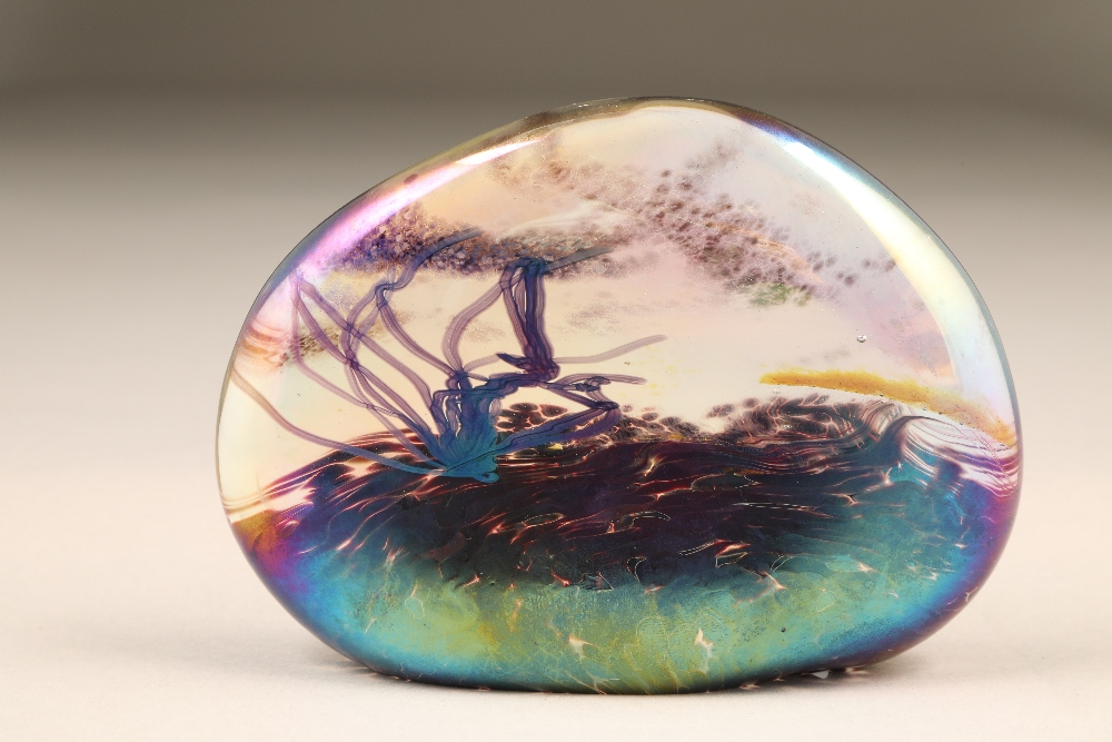 John Ditchfield for Glasform, an iridescent glass paperweight, etched to base Glasform J Ditchfield,