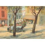 McKay Framed pastel, signed 'Flower Lady in Town Square' 21cm x 28cm