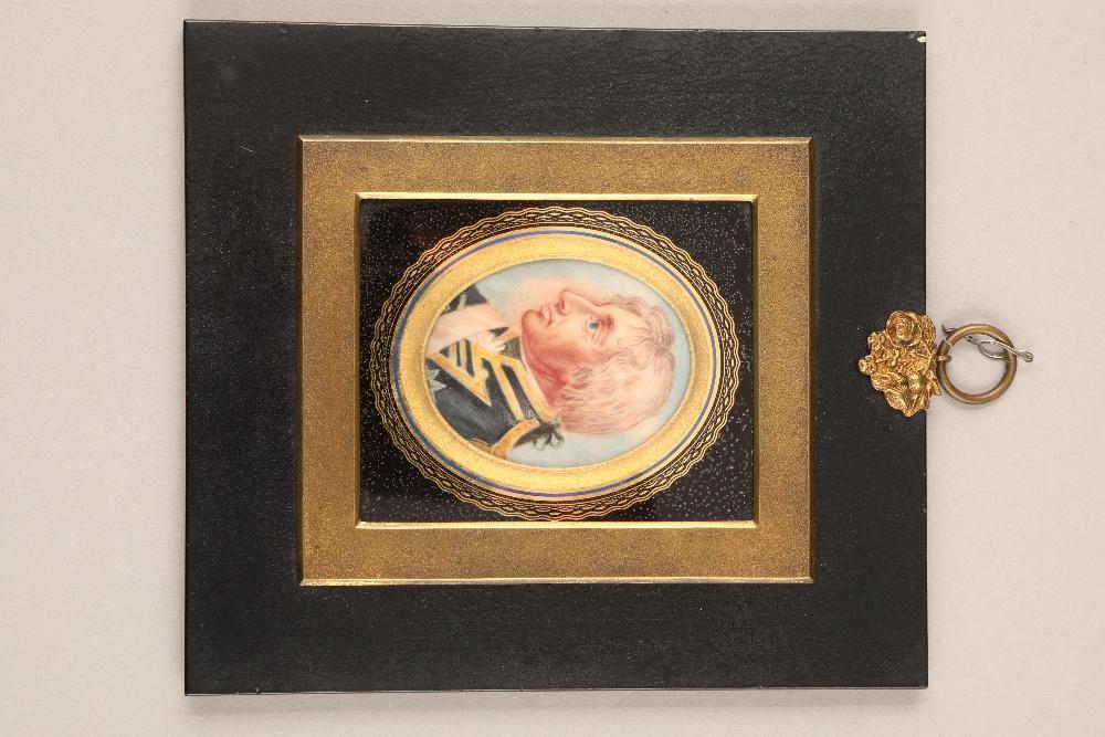 Ebonised framed miniature, of a naval officer, oval mount, 6cm x 4.7cm.