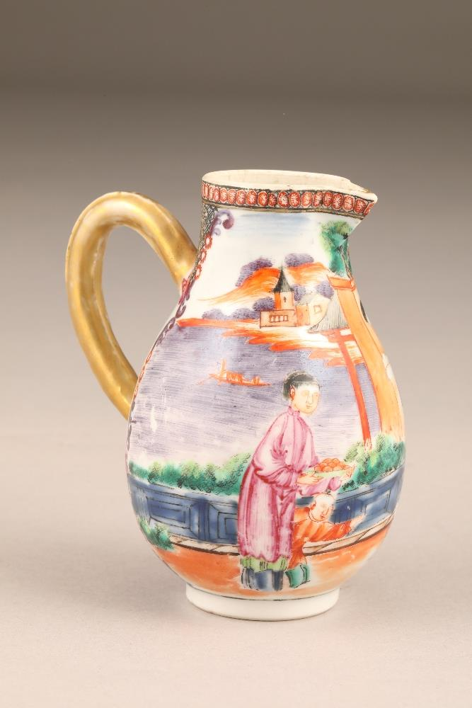 18th/19th century Chinese sparrow beak jug, decorated with figures in garden and river landscape,