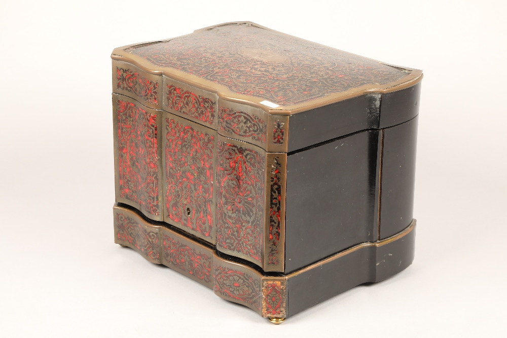 19th century French boulle work liqueur cellar, hardwood case with exterior boulle work - Image 4 of 7
