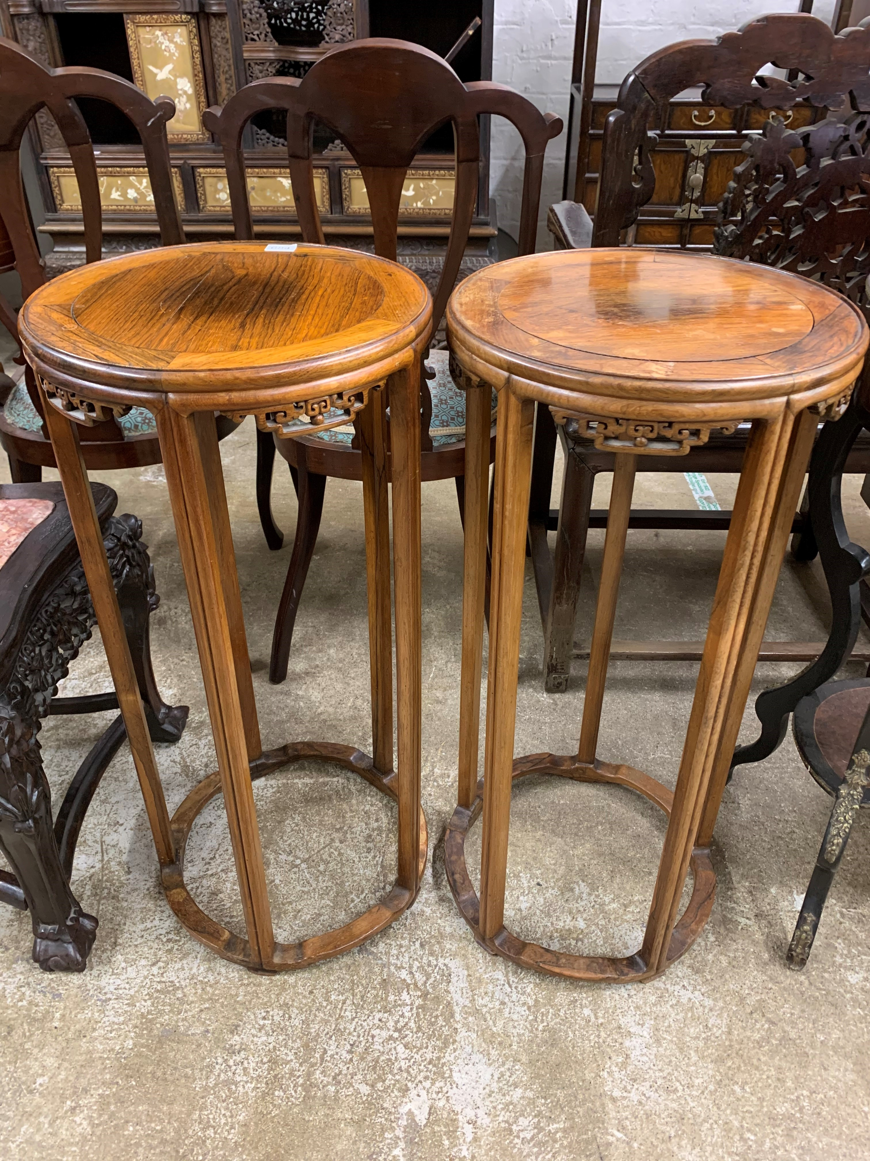 Pair Chinese hardwood jardinière stands, circular tops supported on five legs united by base - Image 6 of 8