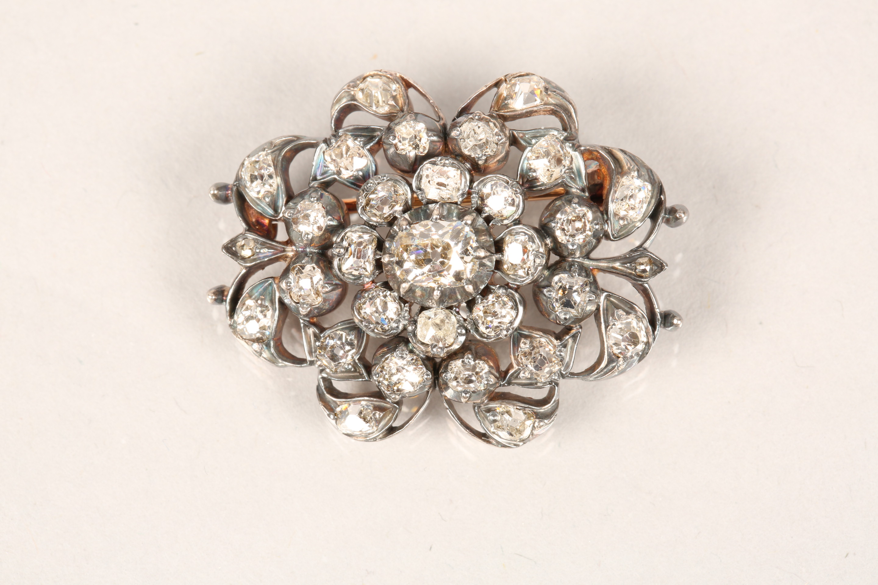 Diamond pierced cluster brooch, thirty one old cut diamonds mounted on heavily tarnished yellow - Image 7 of 7