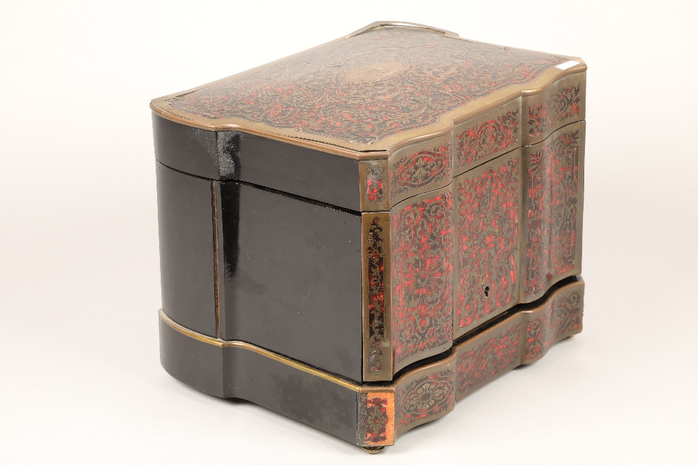 19th century French boulle work liqueur cellar, hardwood case with exterior boulle work - Image 5 of 7