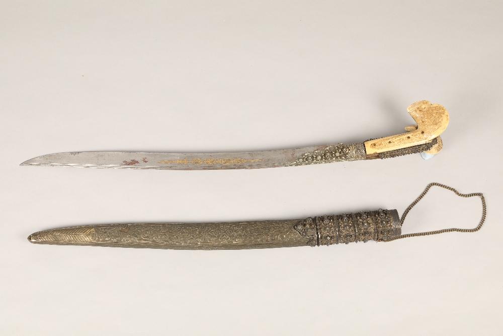 19th century Ottoman sword, heavy bone handle with decorative white metal, steel blade, 58cm