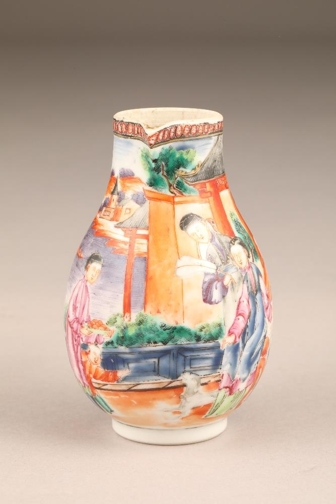 18th/19th century Chinese sparrow beak jug, decorated with figures in garden and river landscape, - Image 2 of 5